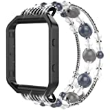 Simpeak Compatible for Fitbit Blaze Band with Frame, Fashionable Beaded Jewelry Elastic Bracelet Band Strap for Fit bit Blaze