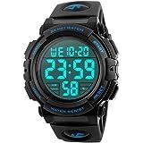 Timever(タイムエバー)デジタル腕時計 メンズ 防水腕時計 led watch スポーツウォッチ アラーム ストップウォッチ機能付き 防水時計 文字が大きくて見やすい (ブルー)
