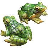 VOSAREA 2pcs Frog Statue Mini Frog Resin Animal Sculpture Indoor Outdoor Decor for Garden Patio Yard Micro Landscape Fairy Ga