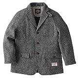 ヘリンボーンクラブ ハリスツイード 紳士のジャケット コート メンズ ウールコート 高級ジャケット 英国製法 (グレー, L)