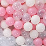 PlayMaty 150 Pieces Colorful Pit Balls Plastic Ocean Ball Crush Proof Stress Balls for Kids Playhouse Pool Ball Pit Accessori