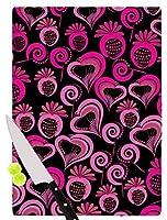 """KESS InHouse MB6016ACB01 Maria Bazarova""""Sweet Love"""" Pink Black Cutting Board, 11.5 x 8.25"""", Multi [並行輸入品]"""