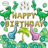 48 パック 恐竜 誕生日飾り付け, GANKE 恐竜党装飾バルーン用品、恐竜風船誕生日用風船20個緑ラテックス風船10個恐竜風船2個緑ティラノサウルス
