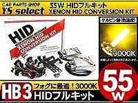 交流式 3000K イエロー HB3 55W 純正交換型 HID キット/HB3キット 55W イエロー