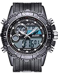 BLCOTメンズ 腕時計 ンズスポーツ時計日常的な防水ファッション屋外アナログデジタルディスプレイ電子軍事バックライトマルチファンクションウォッチ 54mm 文字盤ブラックシリコンストラップ