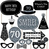 Adult 70th Birthday - Silver - Photo Booth Props Kit - 20 Count