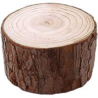 GOMYIE Diyクラフト素朴なテーブルセンターウェディングオーナメント(ウッドカラー)のための樹皮ログディスクが付い…