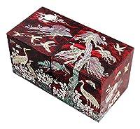 螺鈿細工 松&鶴 木製 ジュエリーボックス チェスト型/引き出し付き リング,ネックレス,時計・指輪収納 【赤色】