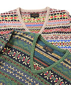 Fair Isle V-neck Sweater 11-15-0366-103: Green, Grey