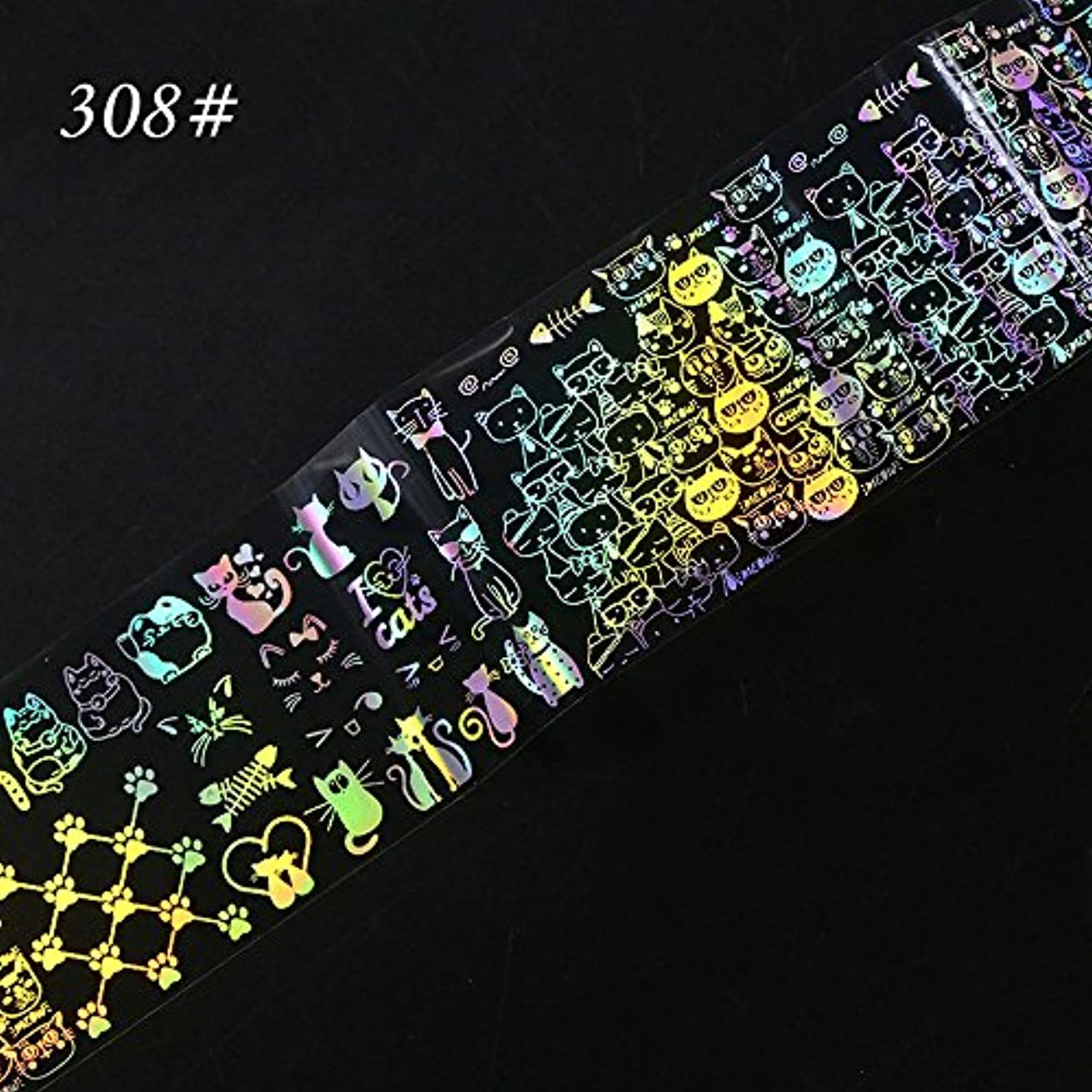 バランス不快化学ネイルアート ホイル ステッカー YOKINO 3D星空ネイルホイル ガイドプレート スタンピングネイルアートツール4cmX100cm (C)
