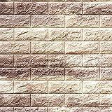 レンガ タイル ブロック 壁紙 壁用 リフォーム シート ブリック 立体 クッション 子供部屋 ウォールステッカー DIY のり付き カラー:オートミール:(qb-011)