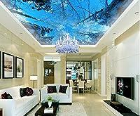 Wapel 壁紙 3 次元立体青空冬の杉天井天頂 3 d リビングルーム壁画用壁紙モダン 絹の布 300x210CM