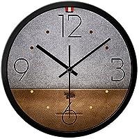 DULPLAY サイレント 置き時計 掛け時計,革 クォーツ時計,レトロ ラウンド 性格 装飾時計,非時限 リビング ・ ホーム ・ オフィス用-A 12インチ
