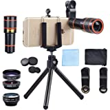 Apexel 4 in 1 12x Zoom Telephoto Lens + Fisheye + Wide Angle + Macro Lens with Phone Holder + Tripod for iPhone X/8/7 /6/6s P