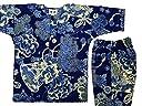 【金彩牡丹と桜 藍紺】 義若オリジナル子供鯉口シャツ上下セット(7号(140サイズ))