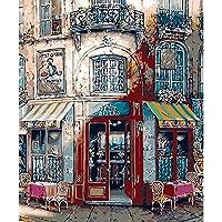 数字で描くキットDiyアクリルノルディックストア風景カフェホテルバーレストラン飾る子供大人初心者ギフト40X50Cmブラシ付き額入り