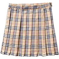 BoodTag Juniors Pleated Skirts Plaid High Waist Above The Knee A-Line Midi Dress