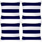 Aneco Pack of 4 White and Navy Blue Waterproof Pillow Covers Outdoor Throw Pillowcases Square Garden Cushion Case for Home, G