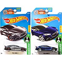 Hot Wheels 2016 Blue and Dark Grey Tesla Model S 2-Car Set