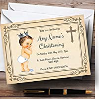 Baby Boy with Crown洗礼式パーティーPersonalized招待状 20 Invitations