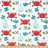 Shannon Minky Cuddle Classic Kids Go Fish Snow Fabric by Shannon Fabrics