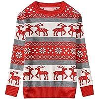 Camii Mia Big Girls' Reindeer Pullover Crewneck Ugly Christmas Sweater