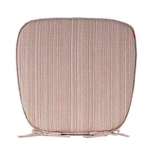 Shinnwa (シンワ)縞模様 いす用 シートクッション ポリエステル 無地 ひも付き バテイクッション/椅子用馬蹄形クッション/ダイニングチェア用/座布団 43*41cm*3cm 深いベージュ 4枚組