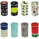 GracesDawn Set of 8 Home Kitchen Storage Containers Colorful Tins Round Tea Tins