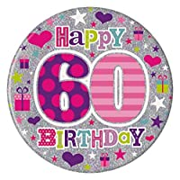 Badge 15cm Happy Birthday Age 60 Fe by Creative [並行輸入品]