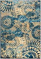 Rizzy Home BV3423 Bellevue Power-Loomed Area Rug 7-Feet 10-Inch by 10-Feet 10-Inch Transitional Blue [並行輸入品]