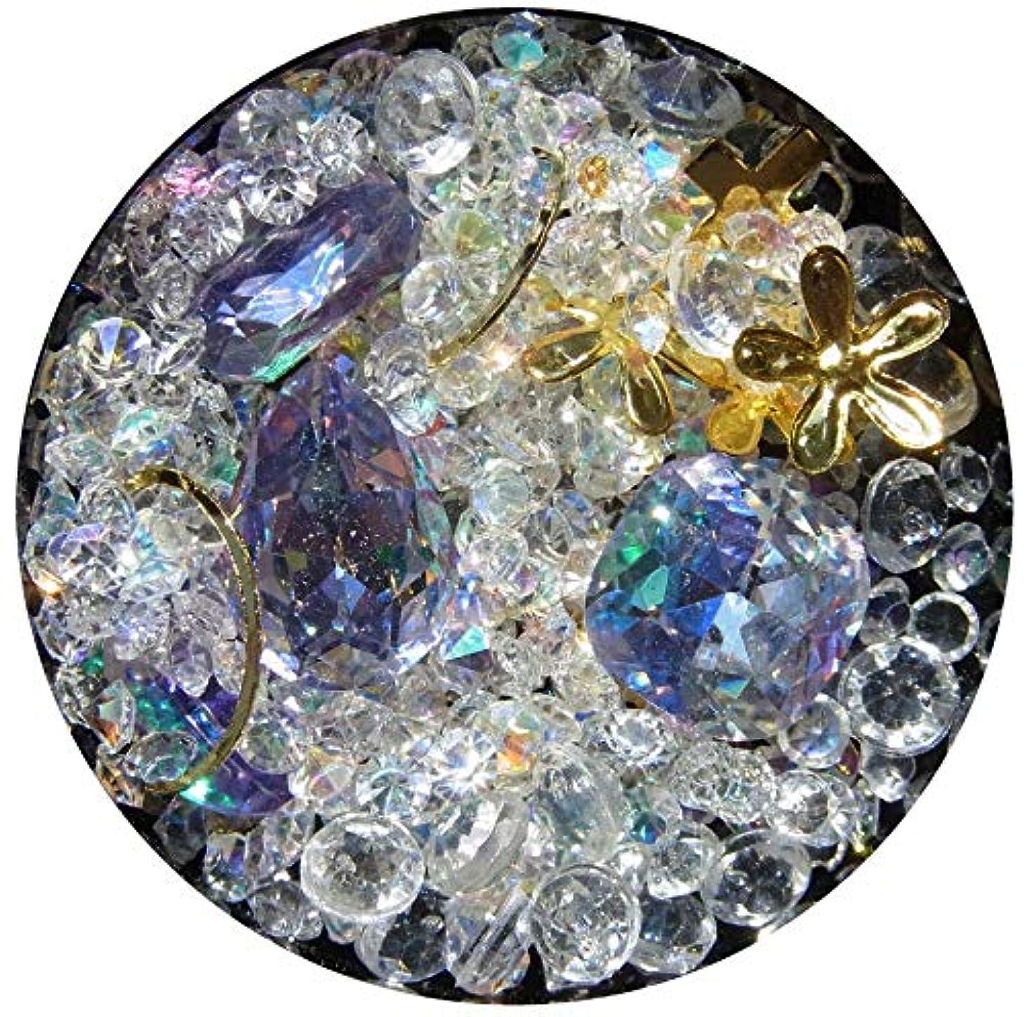思いつくお誕生日変える【jewel】メタルパーツ ミックス ラインストーン カーブ付きフレーム ゴールド ネイルアートパーツ レジン (3)