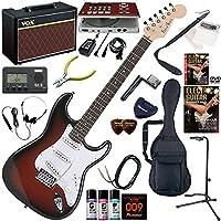 Photogenic エレキギター 初心者 入門 ストラトタイプ ギターの練習が楽しくなるCDトレーナー(エフェクターも内蔵)と人気のギターアンプVOX Pathfinder10が入った強力21点セット ST-180/RDS(レッドサンバースト)