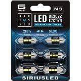 SIRIUSLED N3 DE3021 DE3022 LED bulbs Pure white Super Bright LED Festoon 300 Lumens 3030 Chipset for Car Truck Interiors Dome