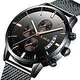 腕時計メンズ腕時計クラシックなビジネスブラックステンレススチールカジュアル豪華なクォーツ腕時計防水マルチ機能ミラノストラップ時計 ブラックゴールド