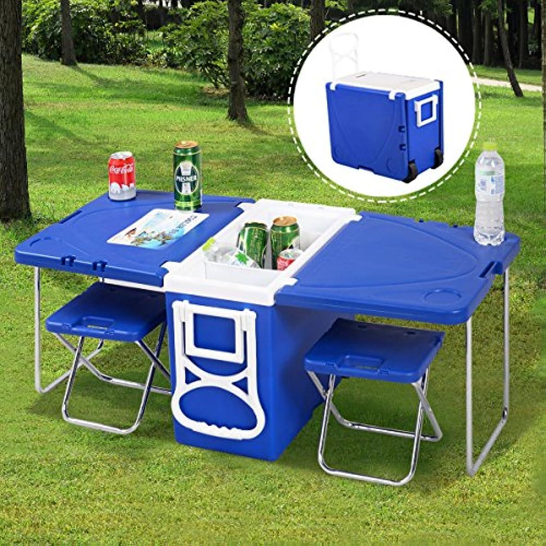 重要性大陸受け入れたWakrays 多機能ローリングクーラー ピクニック キャンプ アウトドア テーブルと椅子2脚付き ブルー