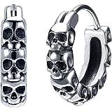 Gothic Skull Hoop Earrings for Men Surgical Steel Mens Huggie Earrings Punk Black Helix Piercing Jewelry for Women
