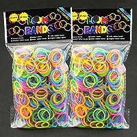 ルームバンド LoomBands ジェルカラー【蛍光色】1200個(600個×2個セット)クリップ48個付 並行輸入品(Jelly)