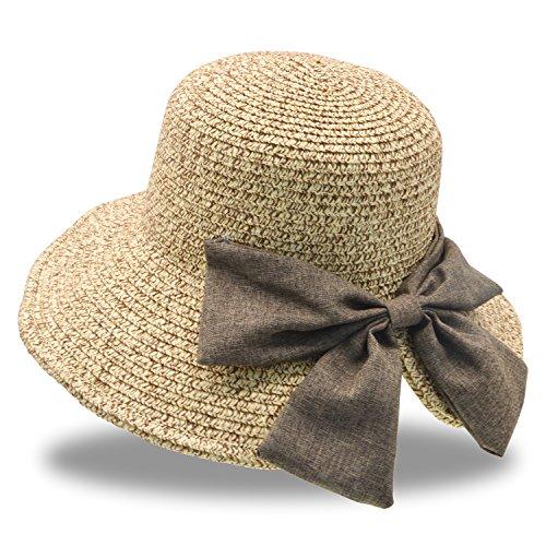 Stynice 麦わら帽子 レディース 折りたたみ 調節可能の園芸麦わら帽子 春夏ど人気のストローハット つば広...