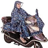 レインコート 自転車 バイク用 レインポンチョ ポンチョタイプ 大きなツバ付き レディース メンズ 兼用 完全防水 夜間反射 アウトドア お買い物 通勤などに便利 専用収納バッグ付き フリーサイズ ブルー