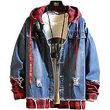 BSCOOLジャケット メンズ デニムジャケット ジージャン Gジャン レイヤード系 ゆったり ストリート系 チェック柄 切り替え 春服 長袖