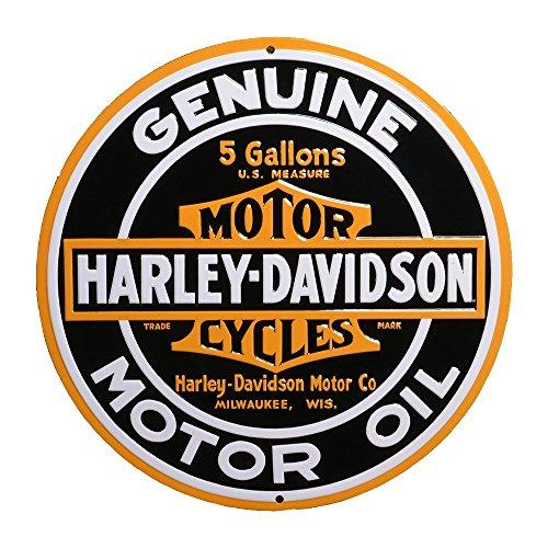 ハーレーダビッドソン ブリキ看板 メタル ラウンド プレート Harley Davidson Oil Round Sign バイク アメリカン雑貨 アメリカ 雑貨 ハーレー グッズ