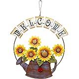 Metal Hanging Butterfly Sunflower Welcome Door Sign, Front Door Hanging Welcome Sign Sunflower Door Decor for Indoor Outdoor