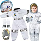 Liberty Imports Children's Astronaut Space Costume Space Pretend Dress Up Role Play Set for Kids Cosplay Ages 3-7 White