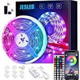 WiFi LED Lights Strip for Bedroom 5m, JESLED 5050 RGB LED Rope Lights with RF Remote, Sync to Music, Compatible with Alexa and Google Home, Smart Color Changing Neon Lights for TV, Party, Home Decoration