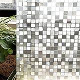 CottonColors(コットンカラーズ) 3D窓用フィルム 浴室目隠しシート 断熱/紫外線カット 無接着剤 再利用可能 プライバシーガラスフィルム(45x200cm)[石道011]