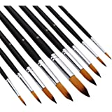 AOOK Artist Paint Brushes Superior Hair Artists Flat Round Point Tip Paint Brush Set for Watercolor Acrylic Oil Painting Supp