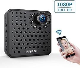 FREDI 隠しカメラ 小型 長時間録画対応 WiFi 防犯カメラ 1080P 小型ビデオカメラ 高画質 録音 動体検知 暗視機能 P2P接続 iPカメラ 複数台接続可 4分割画面 PC/iPad / iPhone/Android 対応