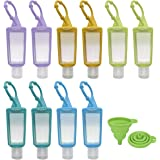 Crenics Plastic Clear Travel Bottles with Removable Silicone Sleeve Keychain Holder, 1 oz Empty Flip Cap Leakproof Containers