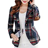 FSSE Women's Elbow Patchwork Slim Fit Classic Plaid Formal Work Blazer Jacket Suit Coat