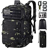 Monoki Military Tactical Backpack, 42L Army 3 Day Assault Pack, Large Molle Bug Out Bag Backpacks Rucksack for Outdoors Hikin